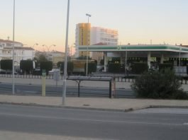 These are the La Cala de Mijas bus stops just in front of the BP service station