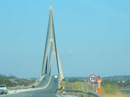 Bridge over the River Guadiana between Spain and Portugal