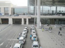 Taxis at Malaga Airport just outside the Arrivals area.