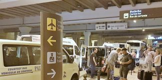 Shuttle and Courtesy Shuttle Bus Pick Up Point at Malaga Aiport