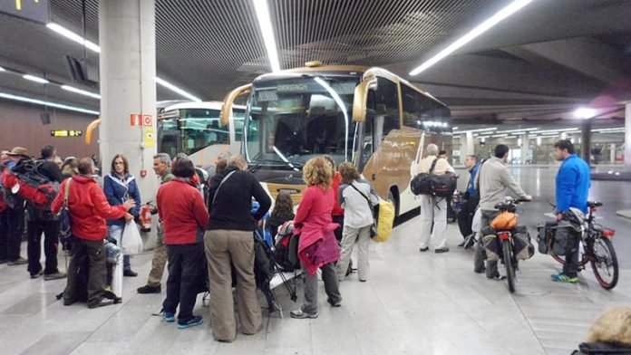 Pilgrims waiting for Saint Jean Pied de Port bus at Pamplona bus station