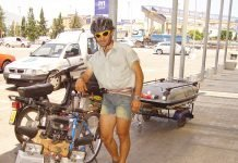 Mexican bike rider outside Dunnes Stores Fuengirola