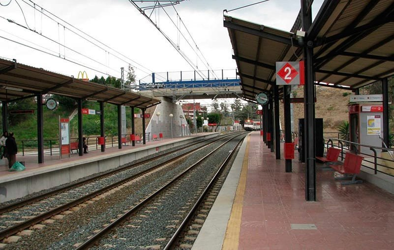 La Colina train stop on the C1 line between Malaga and Fuengirola