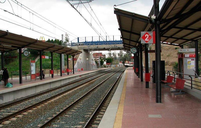 La Colina train stop on the C1 line between Malaga and Fuengirola