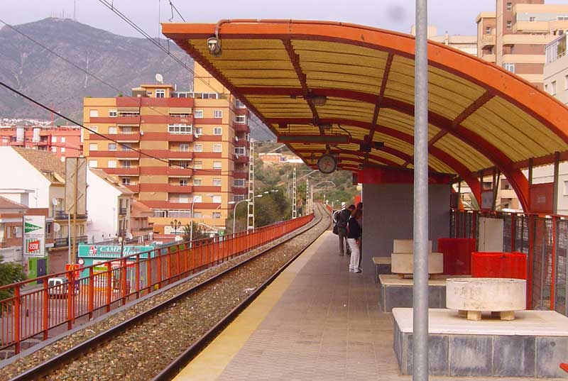 Los Boliches Train Stop in Fuengirola on the C1