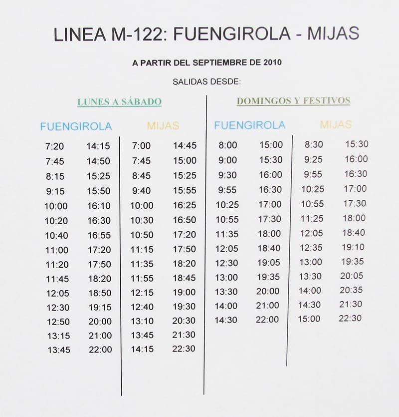 Timetable of buses from Fuengirola to Mijas Pueblo