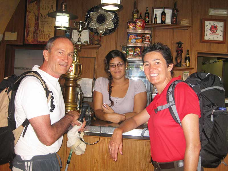 Mike and Shayne checking in at Hostal Bar Frances Guillena