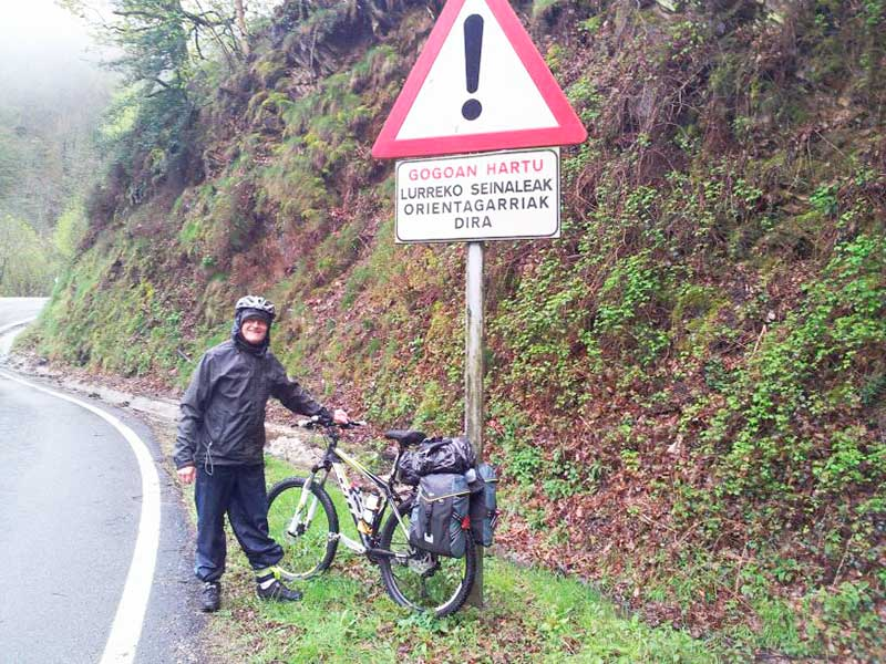 Climbing the Pyrenees by bike owards Roncesvalle