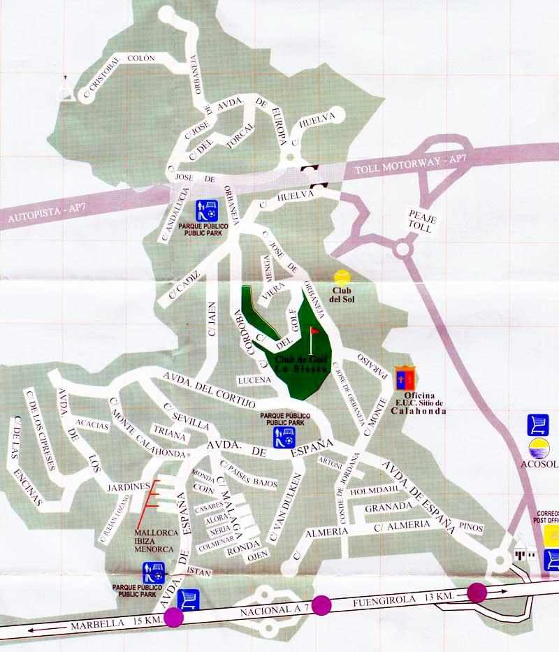 Map of Sitio de Calahonda showing bus stops
