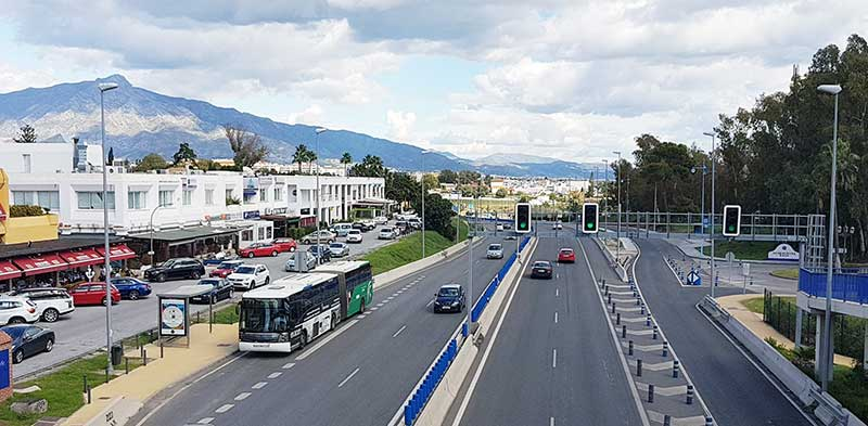 Bus stops in front of the Guadalmina Commercial Shopping Centre