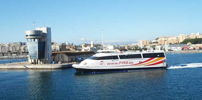 The Algeciras to Ceuta Ferry leaving Ceuta Port