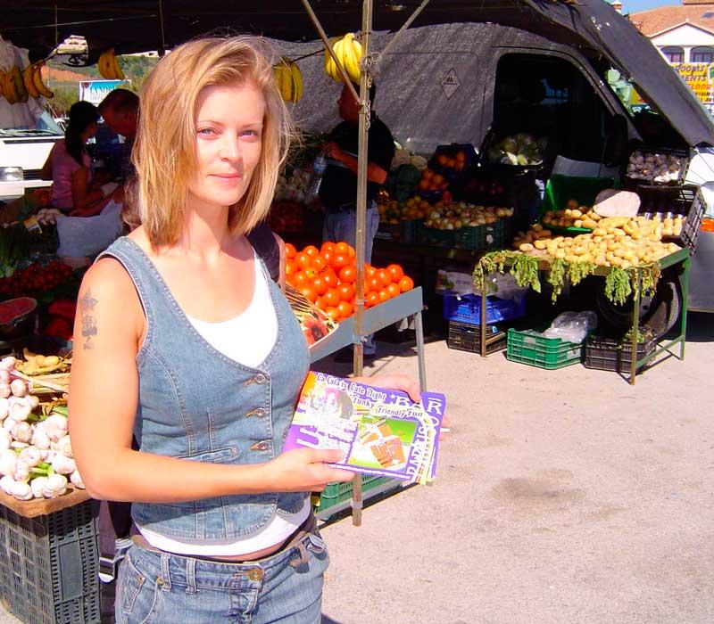 Lydia at the La Cala de Mijas Saturday morning market.
