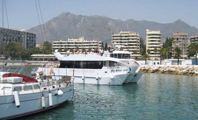 The Fly Blue catamaran between Puerto Banus and Marbella Port