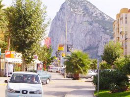 Rock of Gibraltar seen from La Linea Bus Station