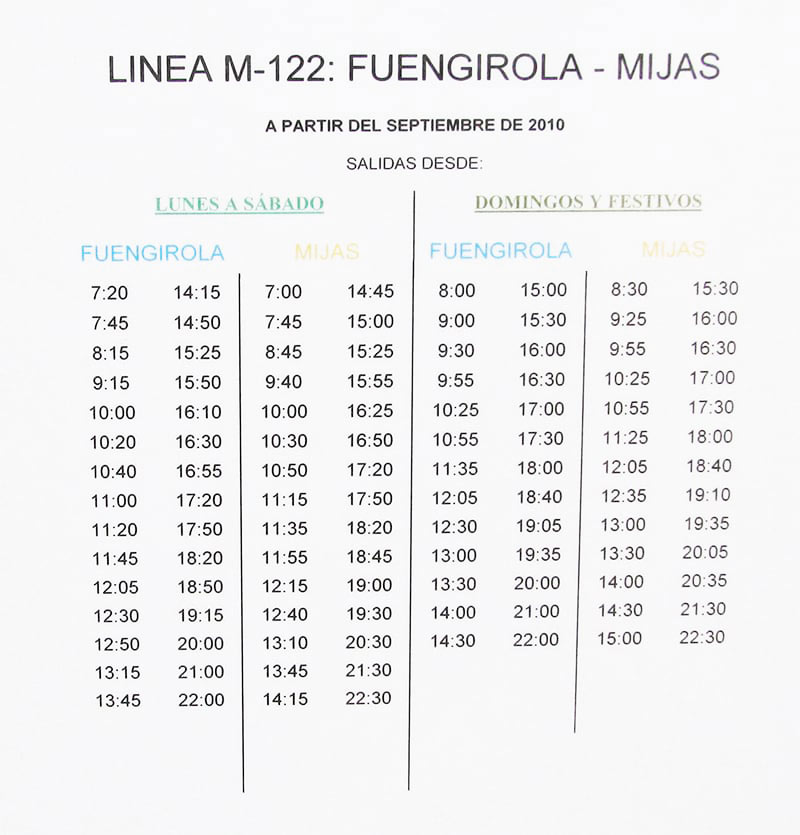 Timetable of buses from Fuengirola bus station to Mijas Pueblo